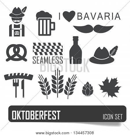 Octoberfest Icon Set. German Festival Food And Beer Symbols. Vector Illustration. Oktoberfest Beer F