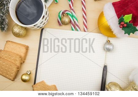 Blank Open Notbook, With Cup Of Coffee And Winter Festive Ornaments.