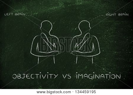 Men With Left And Right Brain Captions, Objectivity Vs Imagination