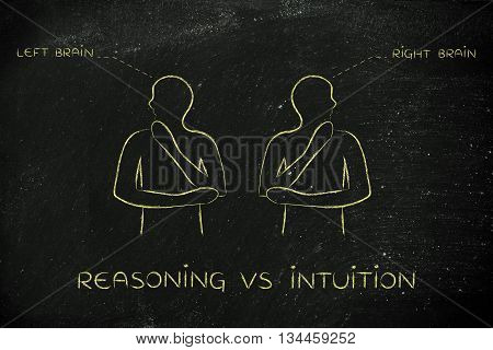 Men With Left And Right Brain Captions, Reasoning Vs Intuition