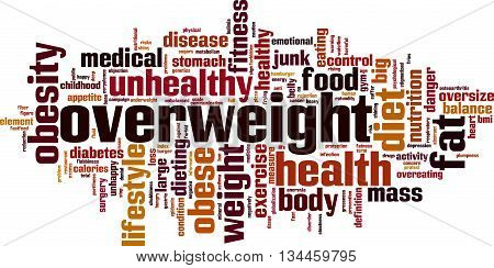 Overweight word cloud concept. Vector illustration on white