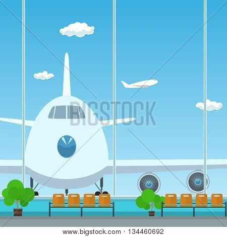 Waiting Room in Airport, View on Airplane through the Window from a Waiting Room, Travel Concept, Flat Design, Vector Illustration