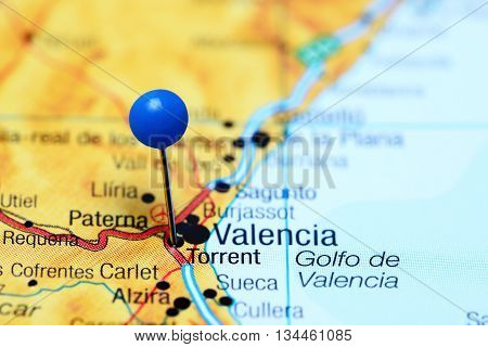 Torrent pinned on a map of Spain