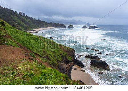 Crescent Beach At Ecola State Park Near Cannon Beach, Oregon,  Usa