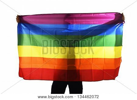 young proud gay man spreading wide big pride homosexual flag with his shadow behind the cloth isolated on white background in defending equality and diversity standing for the human rights