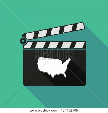 Long Shadow Clapperboard With  A Map Of The Usa