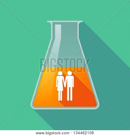 Long Shadow Chemical Test Tube With A Heterosexual Couple Pictogram