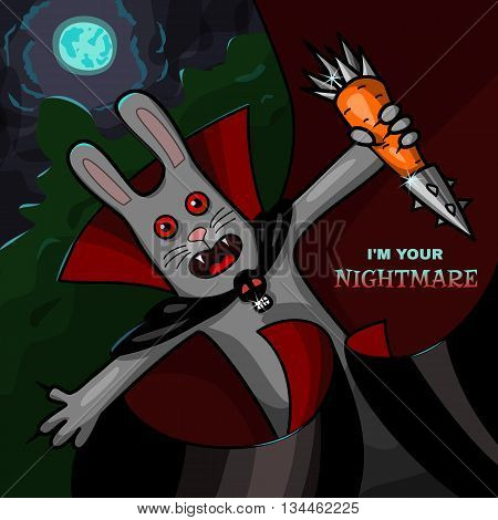 Scary vampire rabbit with steel carrot - comic Halloween character