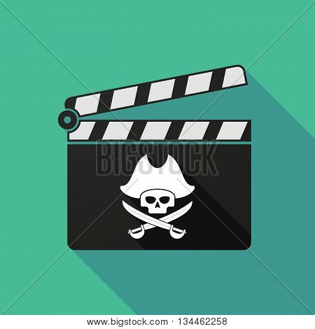 Long Shadow Clapperboard With A Pirate Skull