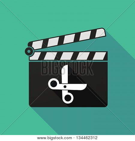 Long Shadow Clapperboard With A Scissors