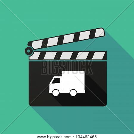 Long Shadow Clapperboard With A  Delivery Truck