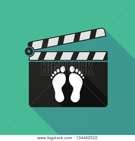 Long Shadow Clapperboard With Two Footprints
