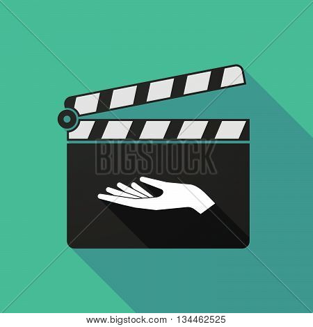 Long Shadow Clapperboard With A Hand Offering