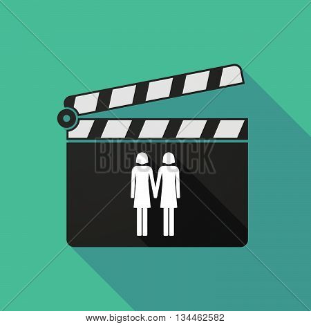 Long Shadow Clapperboard With A Lesbian Couple Pictogram