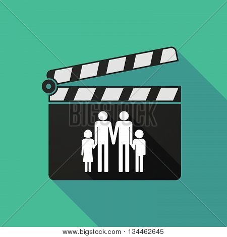 Long Shadow Clapperboard With A Gay Parents  Family Pictogram