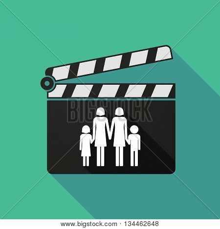 Long Shadow Clapperboard With A Lesbian Parents Family Pictogram
