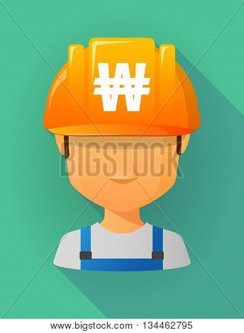 Worker Male Avatar Wearing A Safety Helmet With A Won Currency Sign