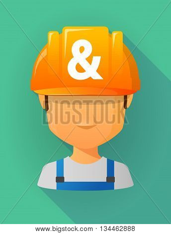 Worker Male Avatar Wearing A Safety Helmet With An Ampersand