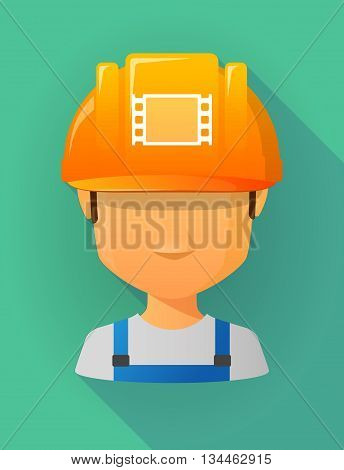 Worker Male Avatar Wearing A Safety Helmet With A Film Photogram