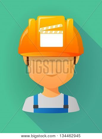 Worker Male Avatar Wearing A Safety Helmet With A Clapperboard