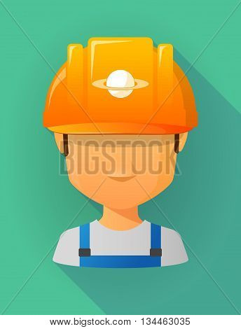 Worker Male Avatar Wearing A Safety Helmet With The Planet Saturn