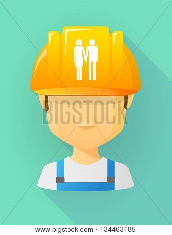 Worker Male Avatar Wearing A Safety Helmet With A Heterosexual Couple Pictogram