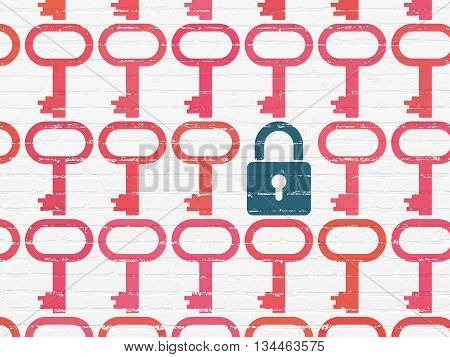 Protection concept: rows of Painted red key icons around blue closed padlock icon on White Brick wall background