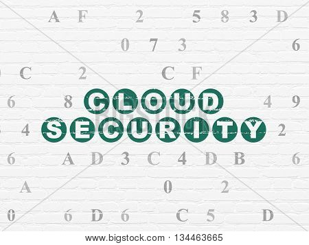 Privacy concept: Painted green text Cloud Security on White Brick wall background with Hexadecimal Code