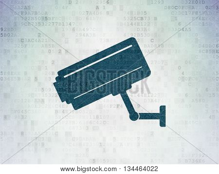 Protection concept: Painted blue Cctv Camera icon on Digital Data Paper background