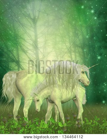 White Unicorn Family 3D Illustration - A small unicorn colt investigates the forest vegetation as his mother stands protectively over him.