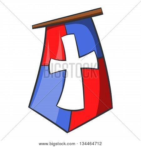 Red and blue medieval banner flag with cross icon in cartoon style on a white background