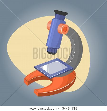 Microscope colorful icon. Vector illustration in cartoon style