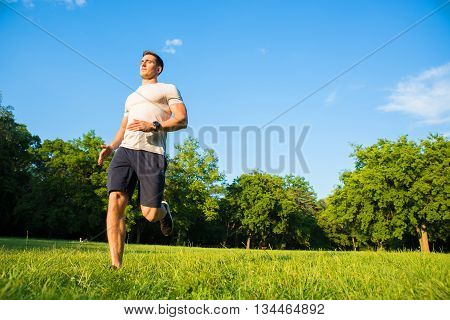 A handsome young man doing sports and running in a park.