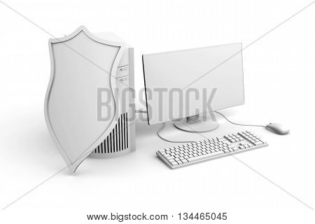 3D rendered Illustration of a shielded and protected desktop computer system.