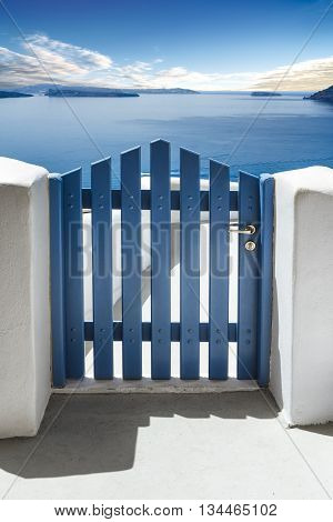 Blue door and see in Santorini Island Cyclades Greece