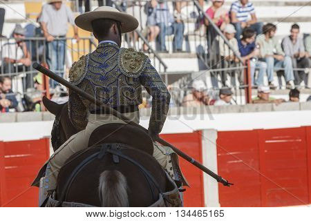 Pozoblanco Spain - September 24 2011: Picador bullfighter lancer whose job it is to weaken bull's neck muscles in the bullring for Jaen Spain