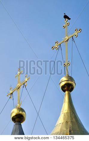 Architecture view - the crosses of Saint Sophia Orthodox Cathedral in Veliky Novgorod Russia with a sitting metallic dove symbolizing the Holy Spirit. It is the oldest Orthodox church in Russia.
