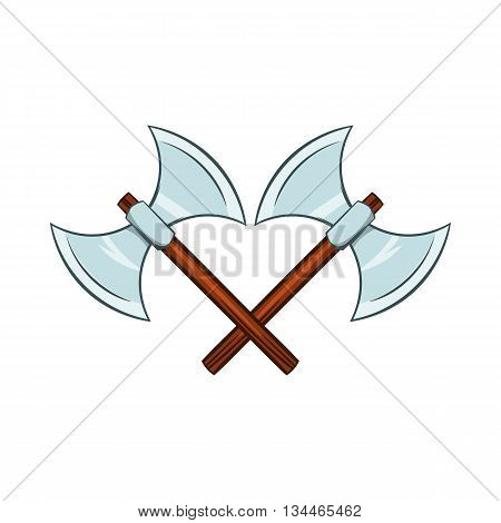Crossed ancient battle double axes icon in cartoon style on a white background