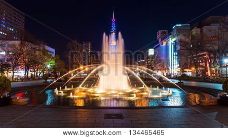 Odori Park Fountain And Sapporo Tv Tower , Hokkaido