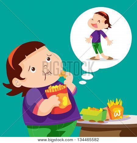 Cute cartoon Fat girl eating hope to slim.