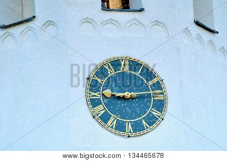 Architecture view of old tower clock at the belfry of St Sophia cathedral in Veliky Novgorod Russia - closeup view architecture landmark