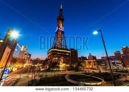 Sapporo Tv Tower At Twilight, Hokkaido