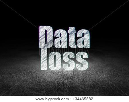 Data concept: Glowing text Data Loss in grunge dark room with Dirty Floor, black background