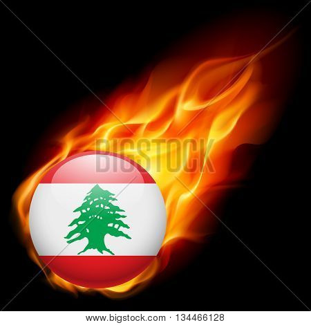 Flag of Lebanese Republic as round glossy icon burning in flame