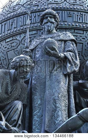 VELIKY NOVGOROD RUSSIA - JUNE 14 2016.Sculpture of Ivan the Great in a dress of Byzantine emperors with Monomach's Cap at the monument Millennium of Russia