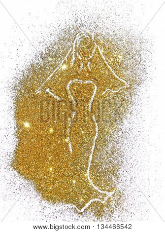 Silhouette of a bride in a long dress and in veil of golden glitter