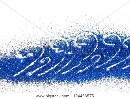 Abstract waves of blue glitter on white background with place for your text