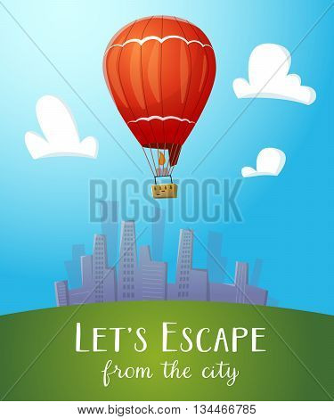 Aeronautics hot air balloon flying over cityline. Surrounded with some white clouds. Vector illustraion for print and web design.