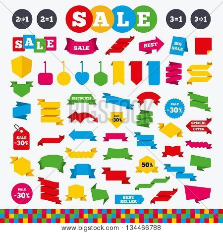 Banners, web stickers and labels. Special offer icons. Take two pay for one sign symbols. Profit at saving. Price tags set.