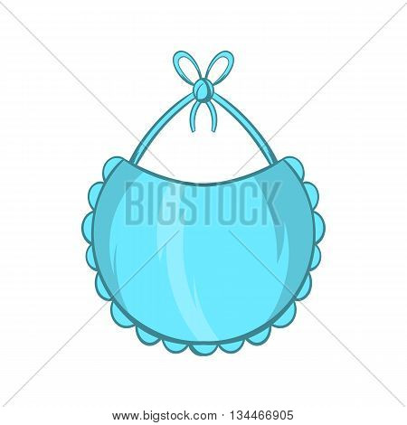 Baby bib icon in cartoon style on a white background